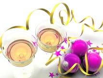 圣诞节装饰紫色黄色 免版税图库摄影