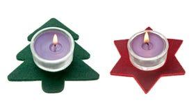 圣诞节装饰绿色杉木红色星形结构树 免版税图库摄影