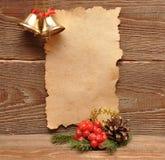圣诞节装饰老纸张 库存照片