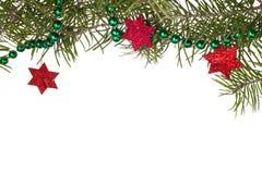 圣诞节装饰背景星担任主角绿色云杉的枝杈 免版税库存照片
