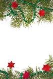 圣诞节装饰背景星担任主角绿色云杉的枝杈 库存图片