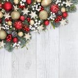 圣诞节装饰背景边界 免版税库存照片
