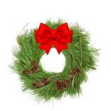 圣诞节装饰花圈红色丝带弓白色背景 库存照片