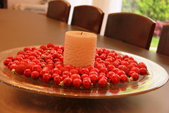 圣诞节装饰蜡烛 免版税库存图片