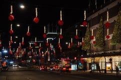 圣诞节装饰街市斯德哥尔摩 免版税库存图片