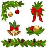 圣诞节装饰被设置的向量 免版税库存照片