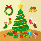 圣诞节装饰角落向量图形例证 图库摄影