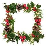 圣诞节装饰边界 免版税库存照片