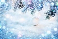 圣诞节装饰重点有选择性的雪 图库摄影