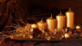 圣诞节装饰金子 库存照片