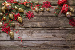 圣诞节装饰金黄红色 图库摄影