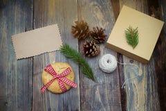 圣诞节装饰隔离白色 礼物的准备 库存图片