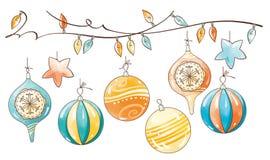 圣诞节装饰集合 免版税库存照片