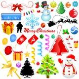 圣诞节装饰集 免版税库存照片