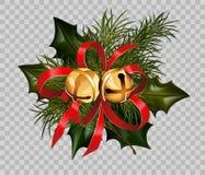 圣诞节装饰霍莉冷杉花圈弓金铃元素传染媒介透明背景 免版税库存图片