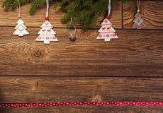 圣诞节装饰,冷杉分支挪威主题的装饰 库存照片
