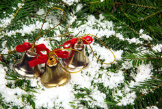 圣诞节装饰,圣诞树的三装饰响铃 库存图片
