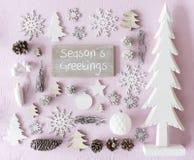 圣诞节装饰,平的位置,文本晒干问候 库存照片