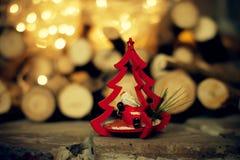 圣诞节装饰 与圣诞老人的玩具树 库存照片