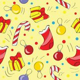 圣诞节装饰-无缝的样式 免版税库存图片
