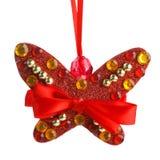 圣诞节装饰蝴蝶 免版税库存图片