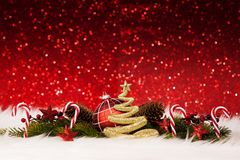 圣诞节装饰-闪耀金黄的闪烁 免版税图库摄影