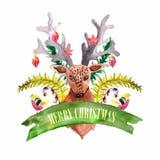 圣诞节装饰-鹿和鸟 库存图片