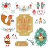 圣诞节装饰elments的逗人喜爱的收藏 免版税库存照片