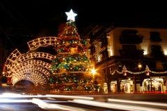 圣诞节装饰gramado晚上 库存图片