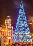 圣诞节装饰Nigth场面,马德里,西班牙 免版税库存照片