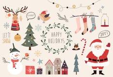 圣诞节要素收集 免版税库存图片