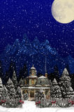圣诞节议院尖桩篱栅 免版税库存图片