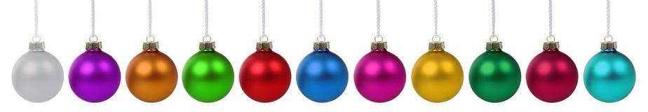 圣诞节许多球的中看不中用的物品五颜六色的装饰deco边界 免版税库存照片