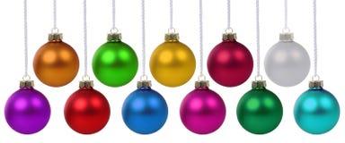 圣诞节许多球的中看不中用的物品五颜六色装饰deco垂悬 图库摄影