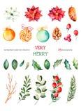 圣诞节设置与25手画clipart 免版税库存图片