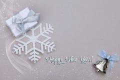 圣诞节设置了与礼物雪花和圣诞树玩具 库存照片