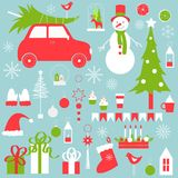 圣诞节设置了与雪人和圣诞树 免版税库存照片