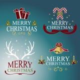 圣诞节设置了-标签、象征和其他装饰要素 向量 向量例证