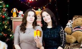 圣诞节设置的两个女孩与一件礼物在他们的手上 免版税库存照片