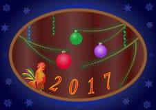 圣诞节设计传染媒介公鸡鸟自然树冬天 库存照片
