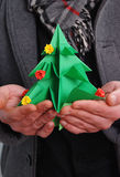 圣诞节设计例证您origami的结构树 免版税库存图片