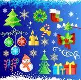 圣诞节设计元素集向量 库存例证