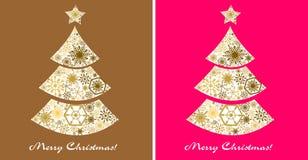 圣诞节设计元素集 在金子和桃红色背景的圣诞树 库存图片