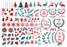 圣诞节设计元素,传染媒介集合 库存照片