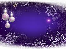 圣诞节设计白色球、雪花和抽象圣诞树 库存例证