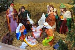 圣诞节诞生在圣诞节街道场面的街道场面在切尔诺夫策,乌克兰 图库摄影