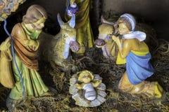圣诞节诞生场面模型 免版税库存照片