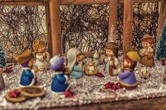 圣诞节诞生场面的生动的颜色 库存照片