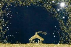 圣诞节诞生场面贺卡,诞生场面抽象单图与金黄闪烁,难看的东西背景的与 向量例证