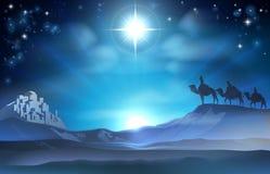 圣诞节诞生星和圣人 免版税库存照片